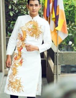 Áo dài nam cách tân trắng họa tiết rồng vàng cao cấp