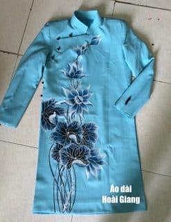 Áo dài nam xanh thiên thanh họa tiết hoa sen