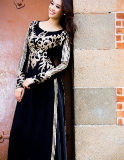Áo dài bà sui đen họa tiết ánh kim độc lạ