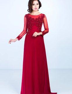 Áo dài bà sui đỏ đậm đính hoa lộng lẫy