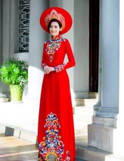 Áo dài nữ cưới đỏ họa tiết cổ truyền cách điệu