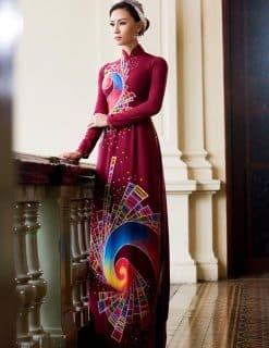 Áo dài nữ đỏ vẽ họa tiết sắc màu hiện đại