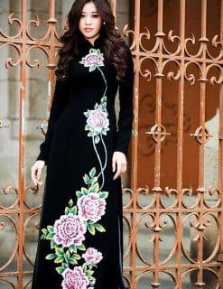 Áo dài nữ màu đen họa tiết hoa cầu kỳ