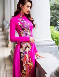 Áo dài nữ hồng cánh sen vẽ hoa rực rỡ