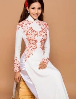 Áo dài nữ trắng dịu dàng hoa văn ren đỏ