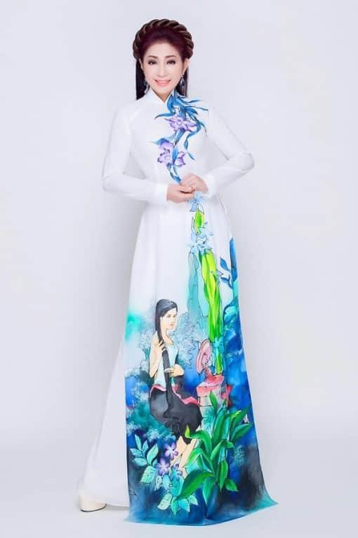 Áo dài nữ trắng vẽ hình ảnh làng quê