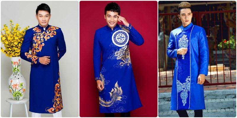 Lựa chọn áo dài nam xanh đầy cá tính, hiện đại