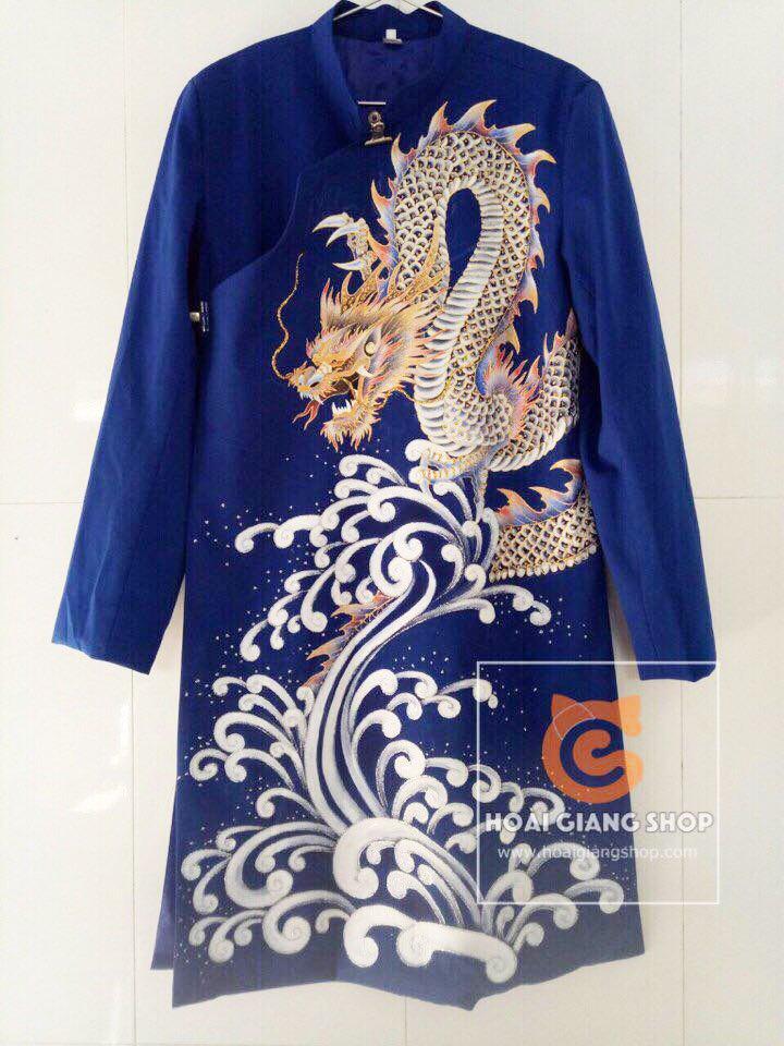 Áo dài nam xanh vẽ rồng 3D