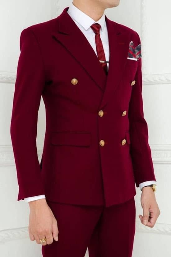 Vest chú rể đỏ đô quý phái