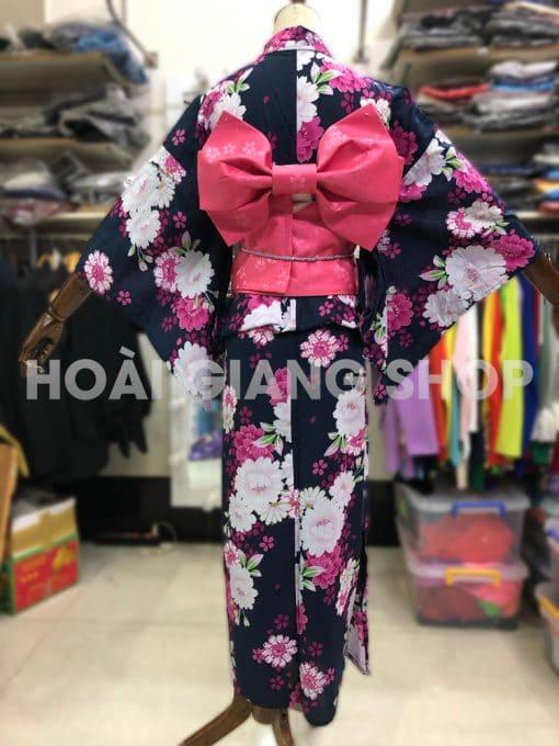 kimono yukata nhật bản xanh đen