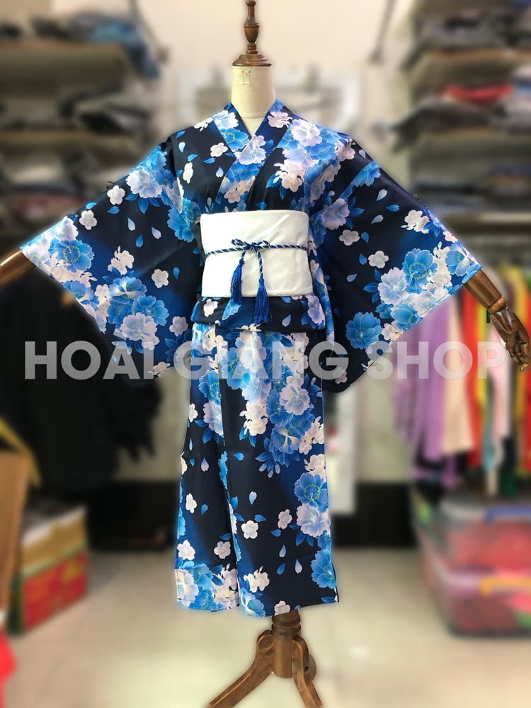 yukata nhật bản xanh hoa trắng