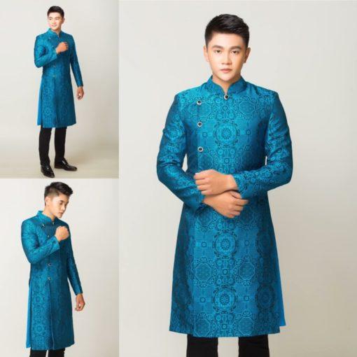 Áo dài nam gấm xanh cổ vịt