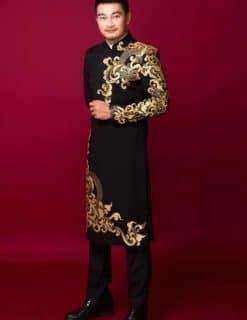 Áo dài nam đen họa tiết đối xứng
