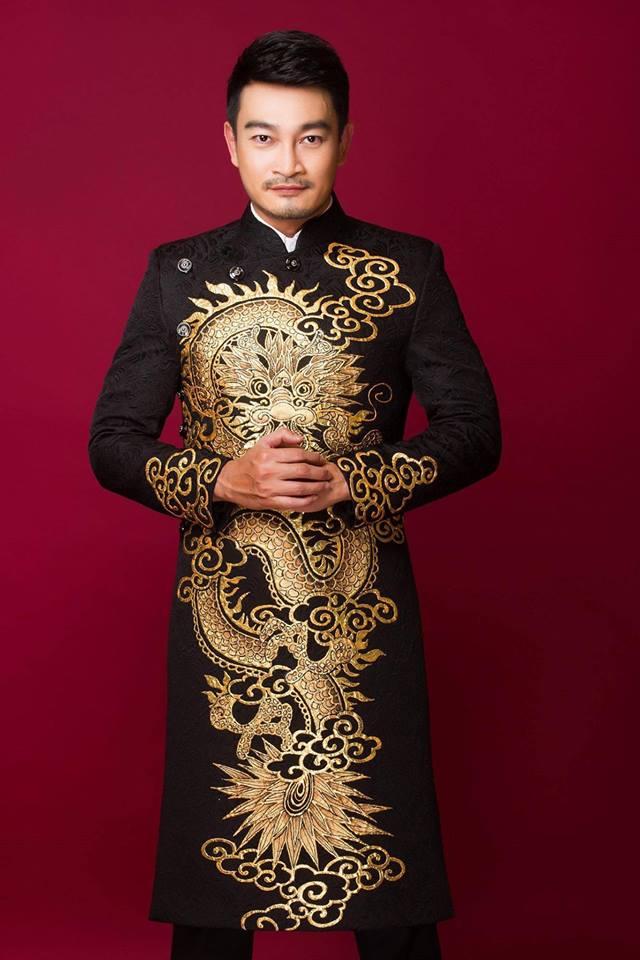 áo dài nam gấm đen họa tiết rồng vàng