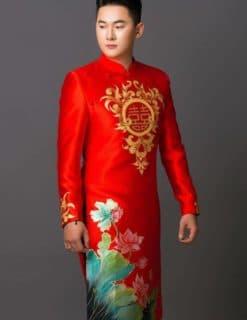 Áo dài nam đỏ họa tiết hoa sen