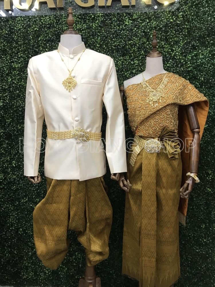cho thuê đồ cưới khmer màu vàng