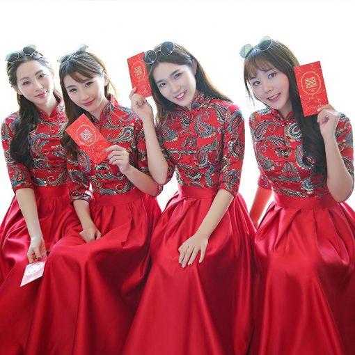Áo khỏa nữ bưng quả Trung Hoa (áo đỏ váy đỏ)