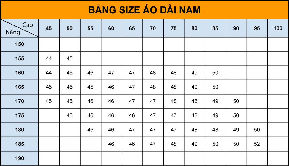 bảng size áo dài nam