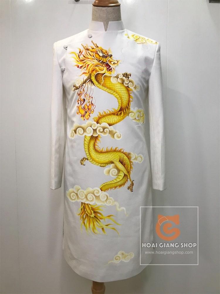 áo dài cách tân nam trắng vẽ rồng 3D
