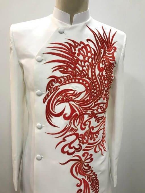 áo dài nam trắng thêu rồng đỏ cao cấp
