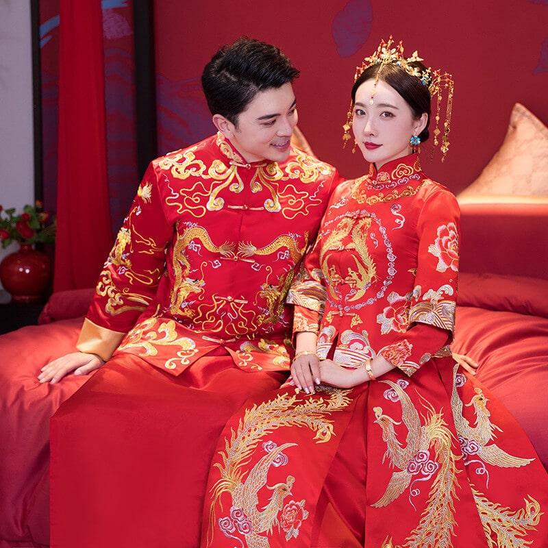 áo khỏa trung quốc cô dâu chú rễ rồng phụng