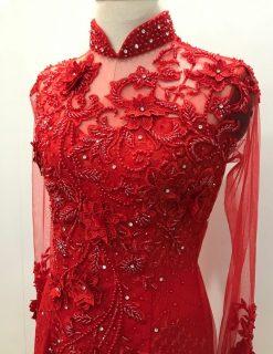 cho thuê áo dài cô dâu màu đỏ kết ren đỏ