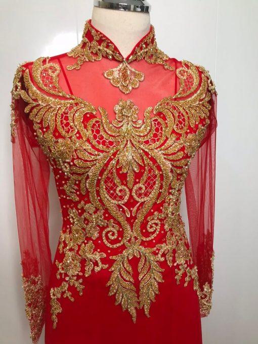 cho thuê áo dài cô dâu đỏ cườm vàng