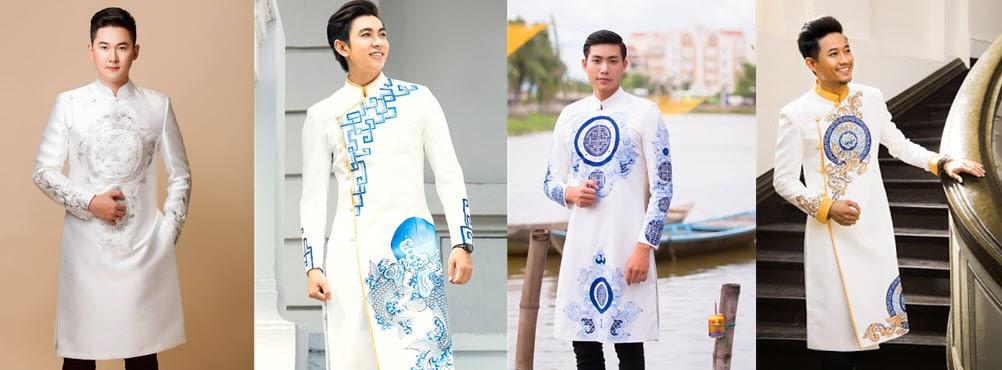 gợi ý áo dài cách tân nam trắng