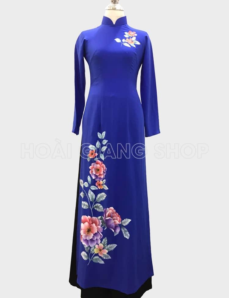 áo dài nữ xanh dương vẽ hoa