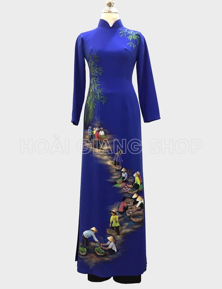 áo dài xanh vẽ phong cảnh