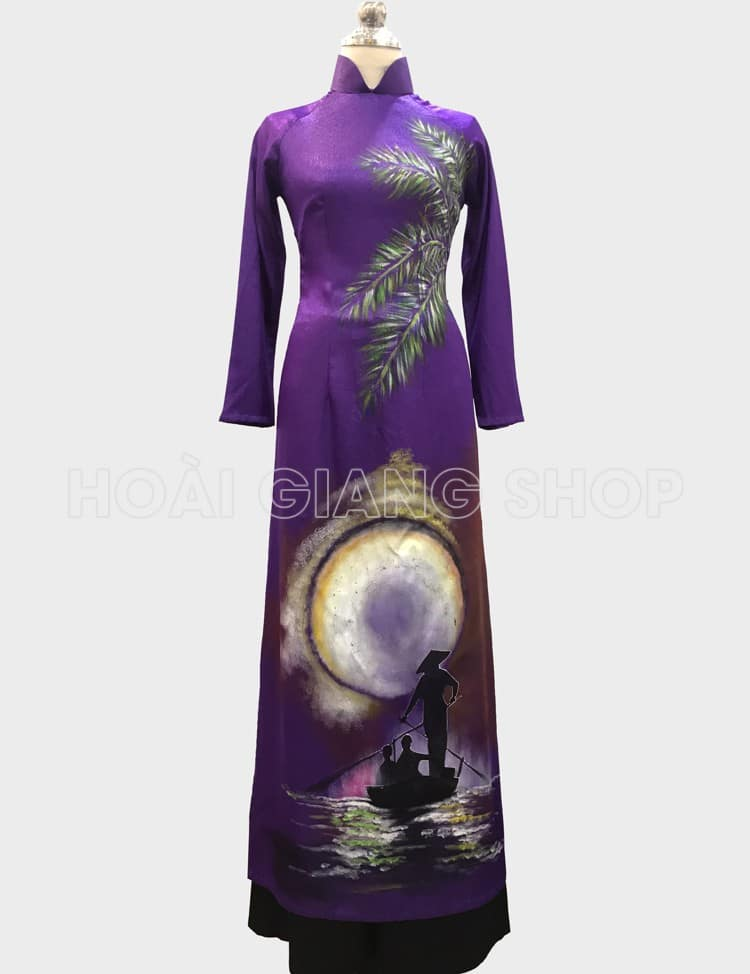 áo dài nữ tím huế vẽ phong cảnh