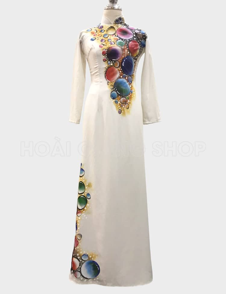 áo dài trắng vân bong bóng