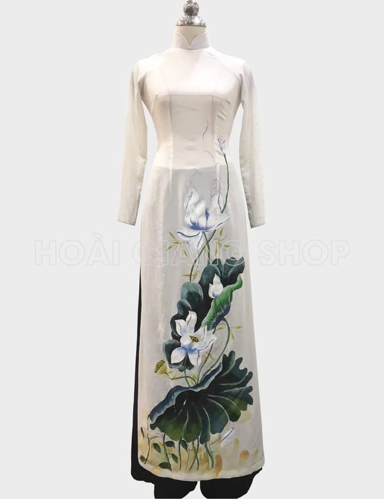 áo dài nữ trắng vẽ sen trắng