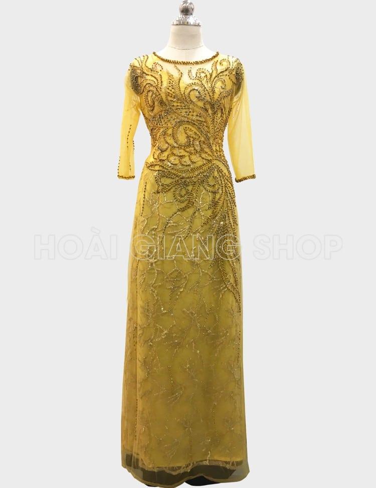 cho thuê áo dài sui vàng lộng lẫy