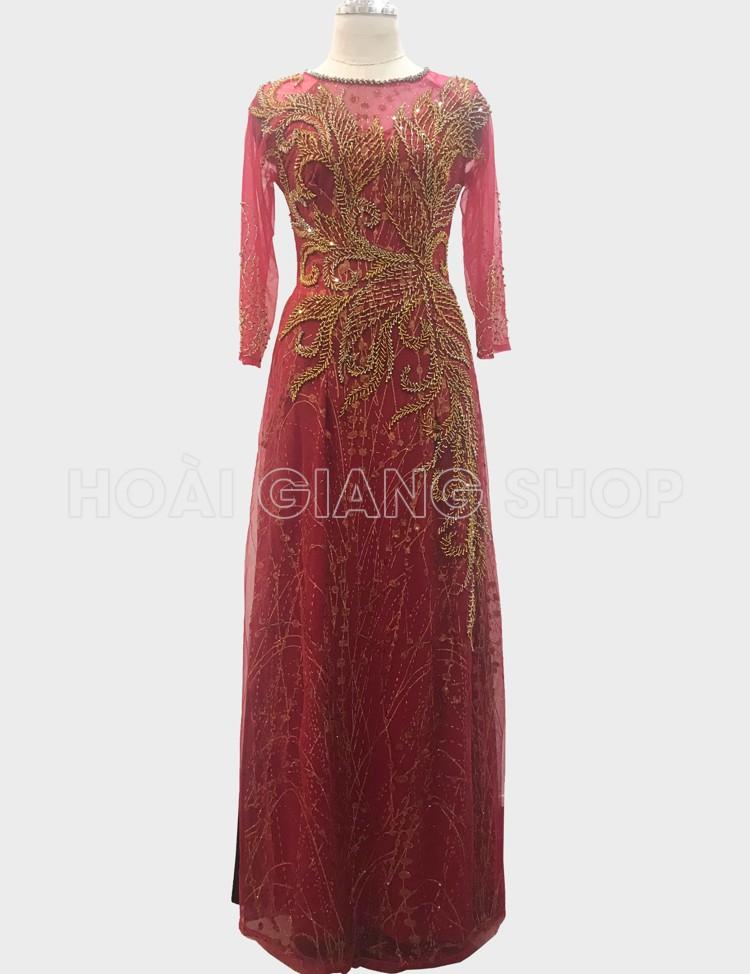 áo dài mẹ cô dâu màu đỏ đậm