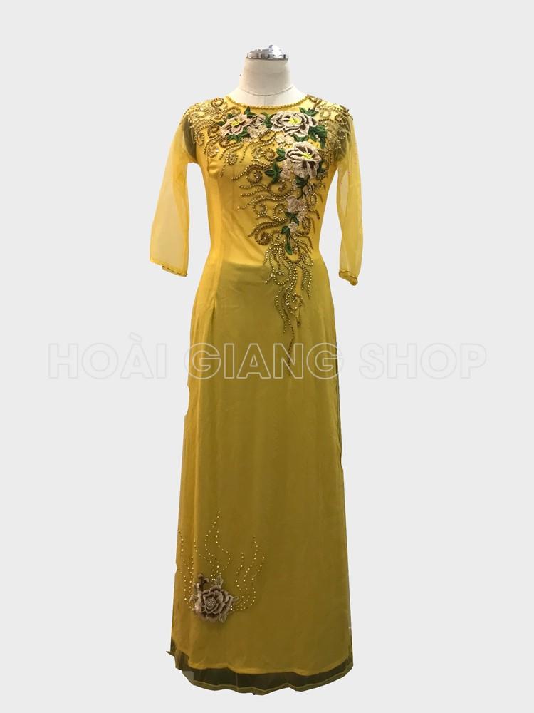 áo dài ngồi sui màu vàng cúc