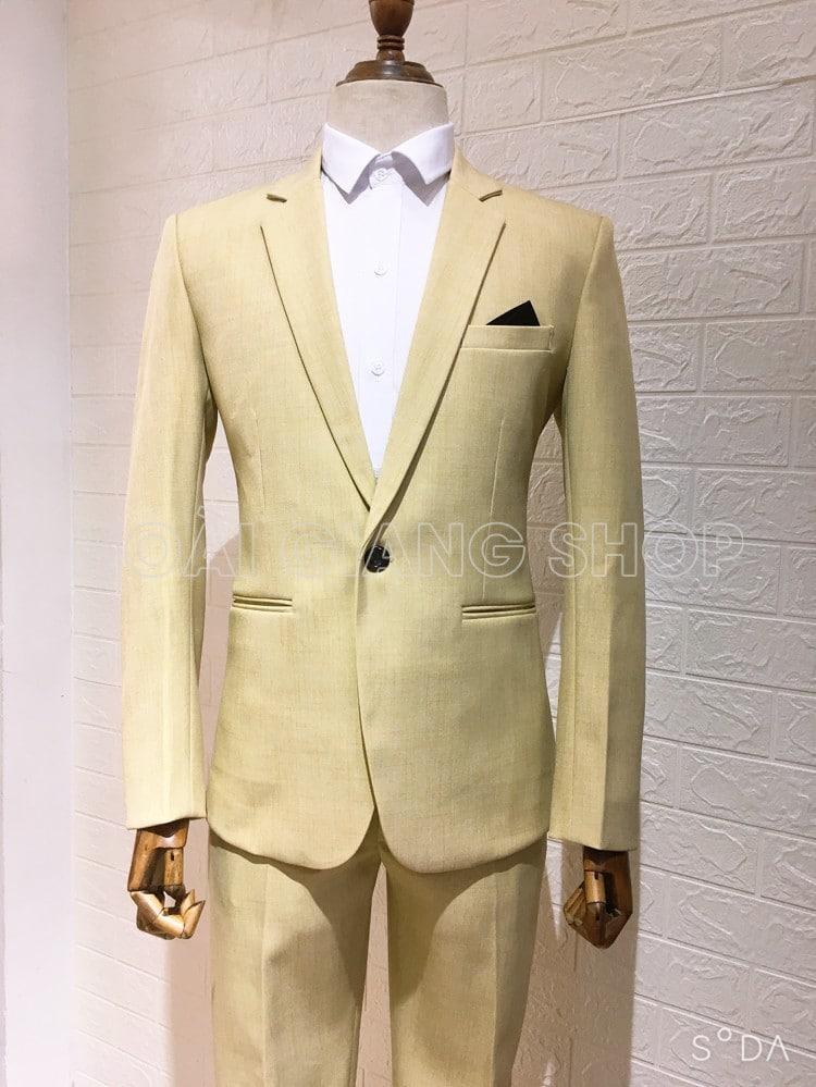cho thuê vest nam màu vàng nhạt