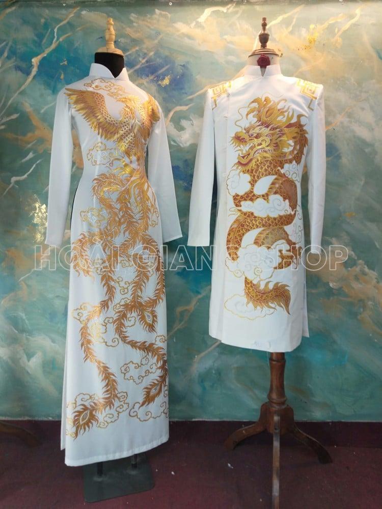 áo dài cưới cặp rồng phụng