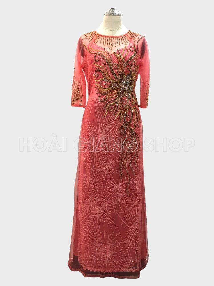 áo dài cho mẹ màu hồng dâu