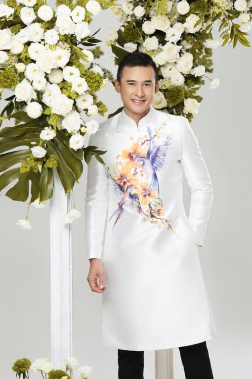 áo dài nam trắng hoa mai