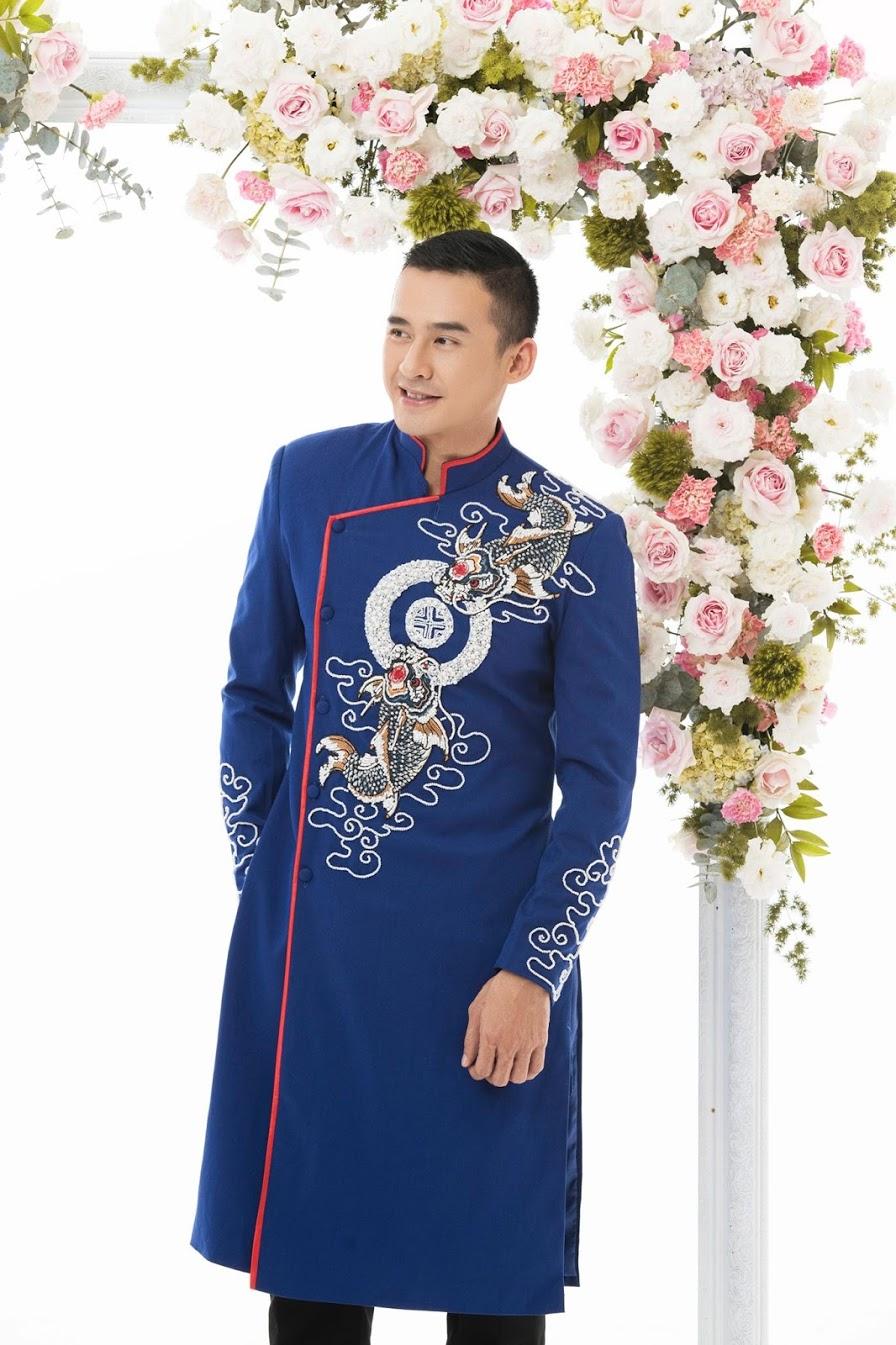 áo dài nam xanh vẽ rồng