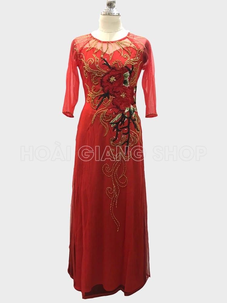 áo dài bà sui màu đỏ