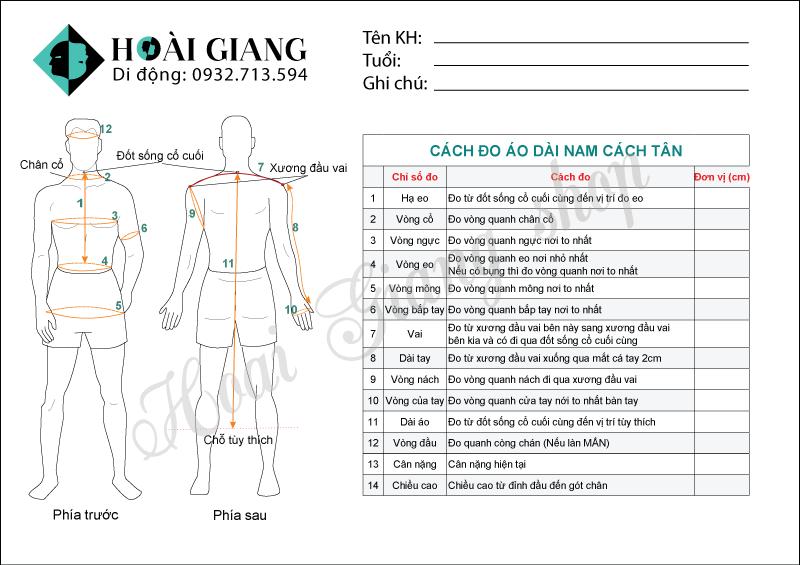 cách đo áo dài nam