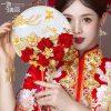 quạt cưới trung quốc hoa đỏ