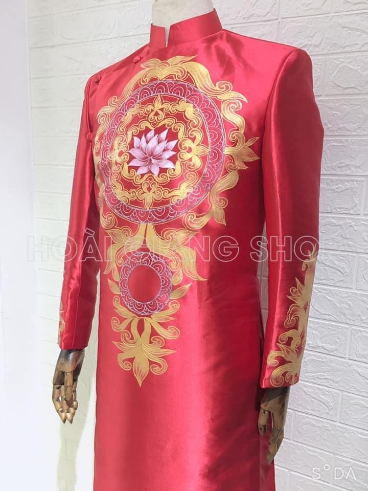 may áo dài nam cách tân đỏ