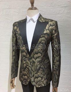 áo vest nam đi tiệc vân vàng