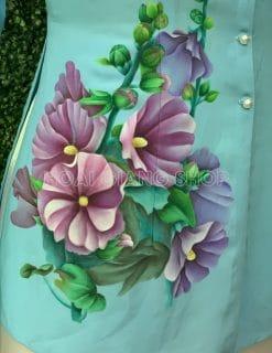 áo bà ba vẽ hoa mãn đình hồng
