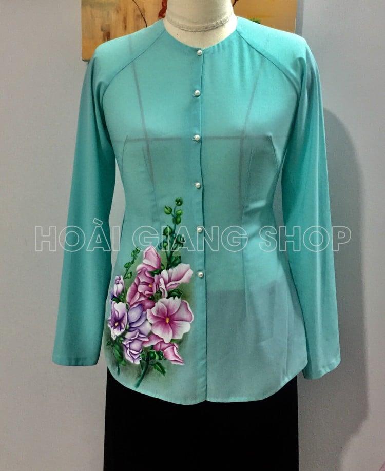 áo bà ba xanh vẽ hoa mãn đình hồng