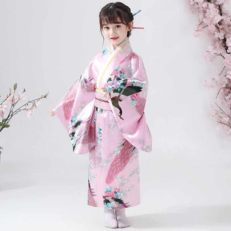 yukata nhật bản bé gái màu hồng