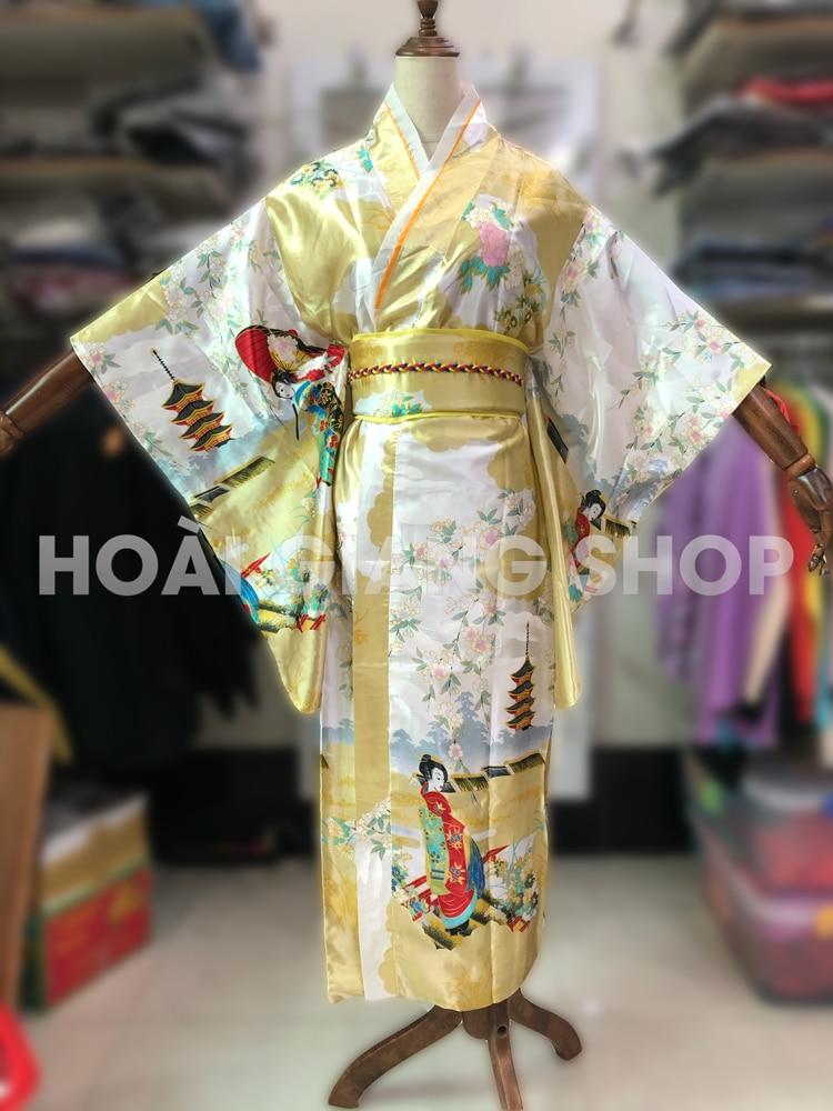 yukata nhật bản màu vàng